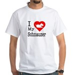 I Love My Schnauzer White T-Shirt