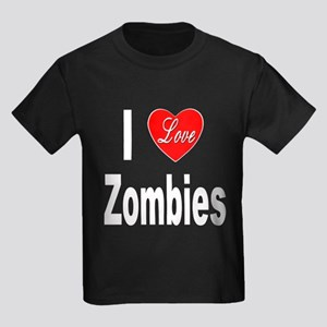 I Love Zombies (Front) Kids Dark T-Shirt