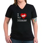 I Love My Schnauzer Women's V-Neck Dark T-Shirt