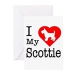 I Love My Scottish Terrier Greeting Cards (Pk of 1