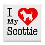 I Love My Scottish Terrier Tile Coaster
