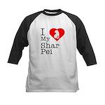 I Love My Shar Pei Kids Baseball Jersey