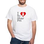I Love My Shar Pei White T-Shirt