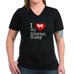 I Love My Siberian Husky Women's V-Neck Dark T-Shi