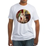 Santa's Lab (Y-lap) Fitted T-Shirt