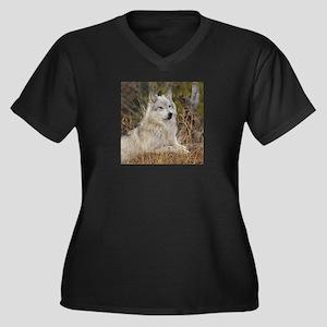 Wolf Pack Women's Plus Size V-Neck Dark T-Shirt