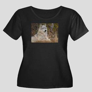 Wolf Pack Women's Plus Size Scoop Neck Dark T-Shir