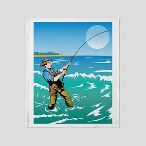 surf casting fishing Throw Blanket