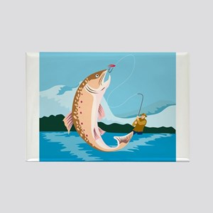 fly fishing trout Rectangle Magnet