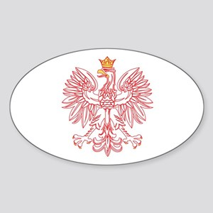 Polish Eagle Outlined In Red Sticker (Oval)