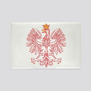 Polish Eagle Outlined In Red Rectangle Magnet