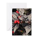 Black Pearl Peppers Vertical Greeting Card
