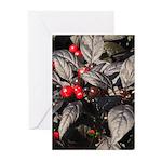 Black Pearl Peppers Vertical Greeting Cards (10)