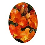 Orange Tulips Oval Ornament