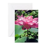 Pink Lotus Vertical Greeting Cards (10)