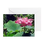 Pink Lotus Horizontal Greeting Cards (10)
