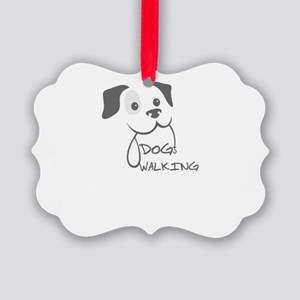 dog walking Picture Ornament
