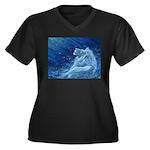 Star Lion Women's Plus Size V-Neck Dark T-Shirt