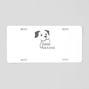 dog walking Aluminum License Plate
