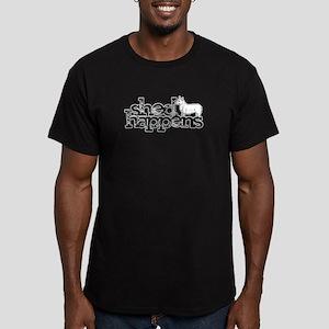 Shed Happens Corgi Men's Fitted T-Shirt (dark)