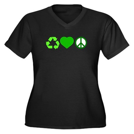 Peace Love Recycle Women's Plus Size V-Neck Dark T