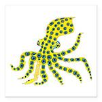 Blue Ringed Octopus Square Car Magnet 3