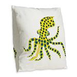 Blue Ringed Octopus Burlap Throw Pillow