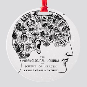 know thyself phrenology head Round Ornament