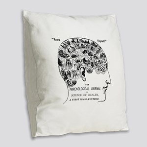 know thyself phrenology head Burlap Throw Pillow