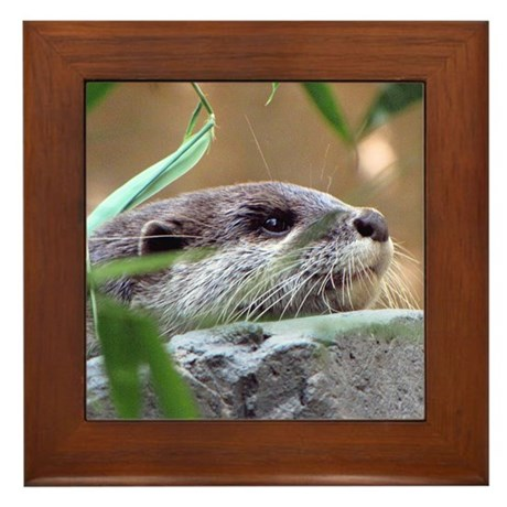 Resting Otter Framed Tile