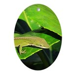 Green Anole on Leaf Oval Ornament