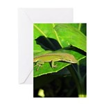 Green Anole on Leaf Vertical Greeting Card
