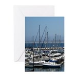 Boats in Harbor Vertical Greeting Cards (10)
