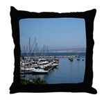 Boats in Harbor Throw Pillow