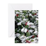 Snowy Holly Vertical Greeting Card