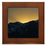 Golden Mountain Sunset Framed Tile