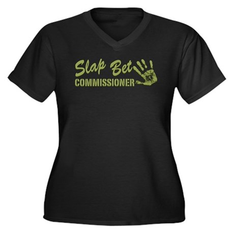 Slap Bet Women's Plus Size V-Neck Dark T-Shirt