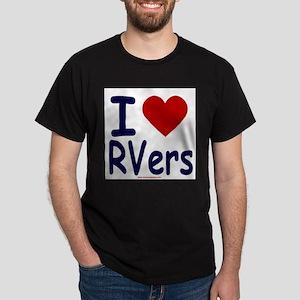 I Love (Heart) RVers Black T-Shirt