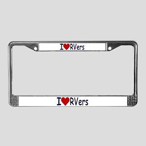 I Love (Heart) RVers License Plate Frame