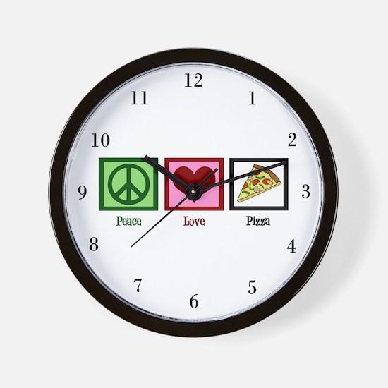Peace Love Pizza Wall Clock