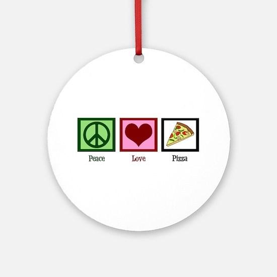 Peace Love Pizza Ornament (Round)
