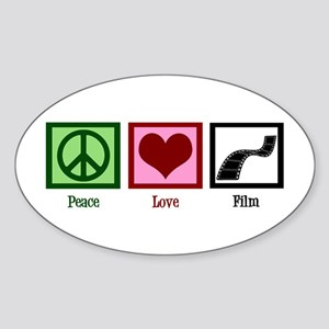Peace Love Film Sticker (Oval)