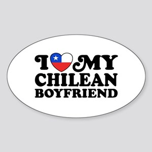 I Love My Chilean Boyfriend Sticker (Oval)