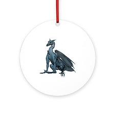 Sitting Blue Dragon (2) Ornament (Round)