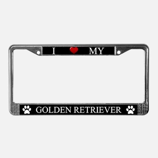 Black I Love My Golden Retriever Frame