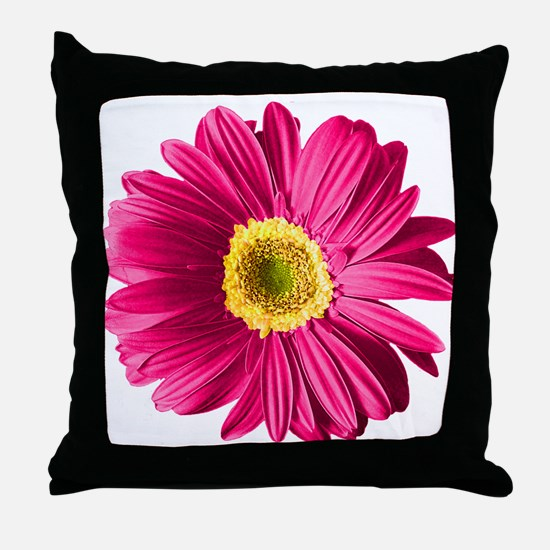 Pop Art Fuchsia Daisy Throw Pillow
