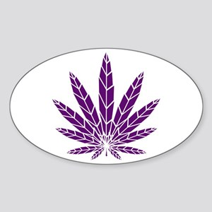 Purple Leaf Sticker (Oval)