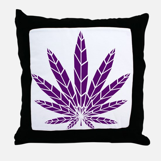 Purple Leaf Throw Pillow