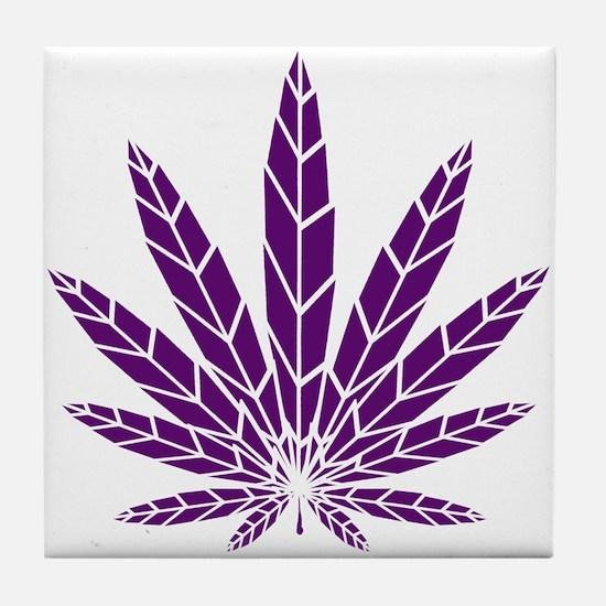 Purple Leaf Tile Coaster