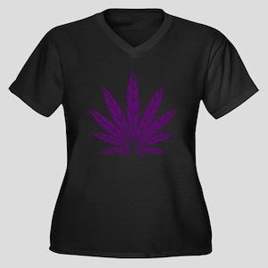 Purple Leaf Women's Plus Size V-Neck Dark T-Shirt